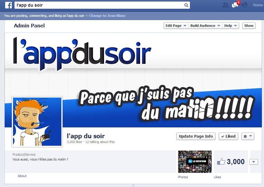 Page Facebook de L'app du soir