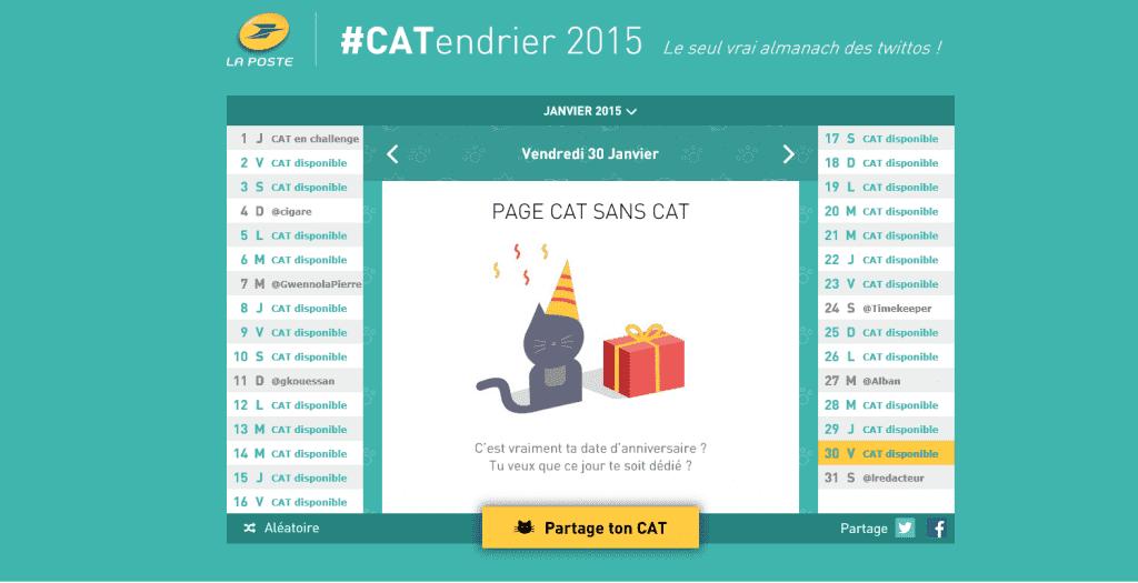 Site web du #CATendrier 2015 par La Poste