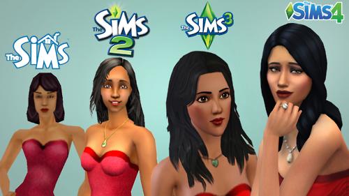 Evolution graphique d'un personnage féminin dans le jeu Les Sims 1 à 4