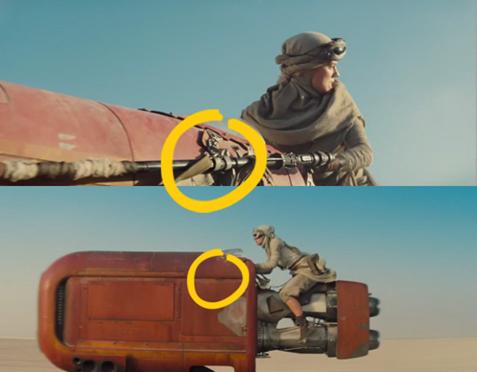 Faux raccord Allociné dans le trailer de Star Wars 7 - Rey sur son podracer