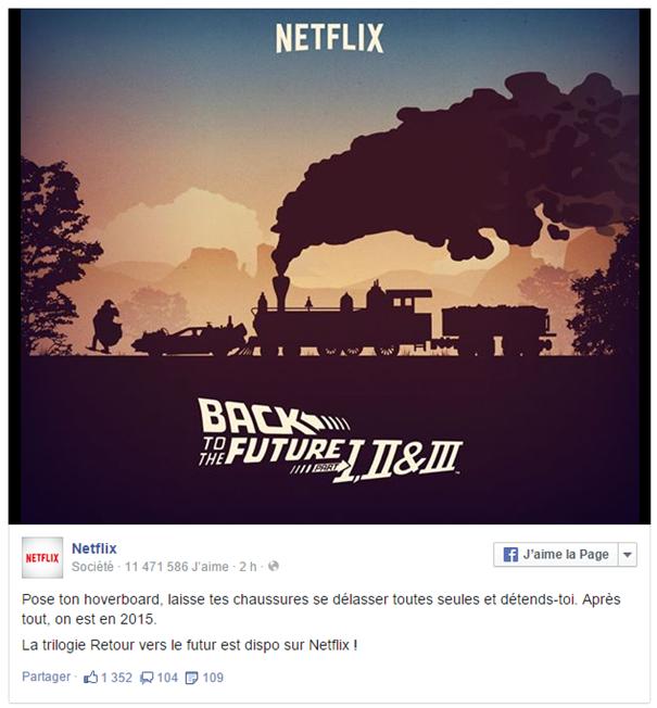Publication Facebook de Netflix indiquant l'arrivée de la trilogie Retour vers le futur sur la plateforme de streaming.