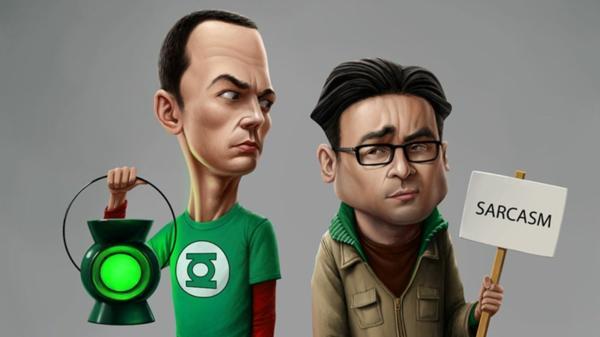 Sheldon portant une lampe de Green Lantern et Leonard un panneau Sarcasm - The Big Bang Theory